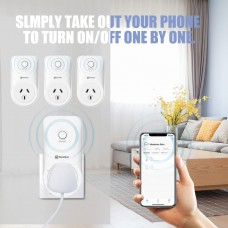 Smart Wifi Plug Kit With Timer Function Works with Alexa, Google Home( 1 main plug+3 sub plug)